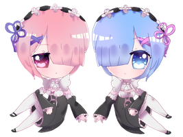 Rem and Ram by DarkFearZZ