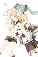 Vocaloid - Miku n' Kagamine Twins render (png) by orihimeyuuka