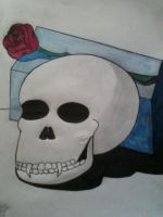 Vampire Skull w/ Rose on Blue Block by ScenePika