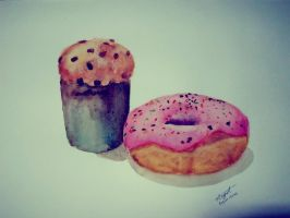 Water Color: Muffin and Donut by MissAngelistic