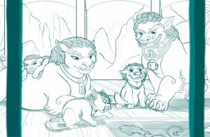 Foo Dog Family - Collab Sketch by kohu-scribbles