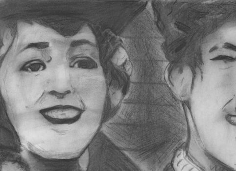 Mary Pickford and Charlie Chaplin in Charcoal by MarySukala