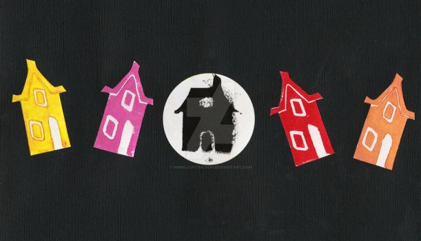 Haunted house lino print by hmwillustration