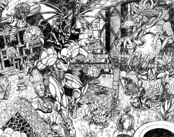 Super Metroid - Running the Gauntlet (Penciled) by SoulStryder210