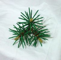 Pine needle kanzashi by EruwaedhielElleth