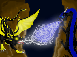 contest entry~2 dragons fighting by KiogaXXX