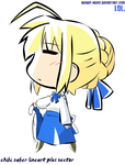 Chibi Saber Lineart + Vector by thecuriousartist