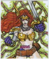Angela artist proof sketch card commission by mdavidct