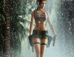 pacific coasts Lara Croft  in heavy tropical rain by 7ipper