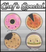 Cute Food Badges by kappapillon