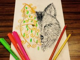 Request: Wolf and its Spirit by vt2000