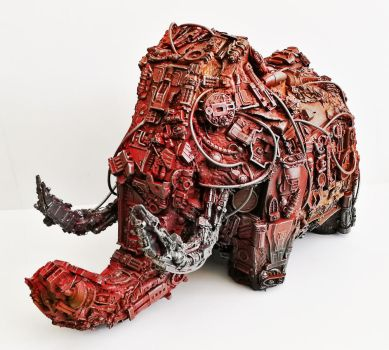 robot Mammoth piggy bank by richardsymonsart