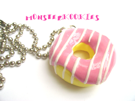 Pink Striped Donut Necklace by monsterkookies