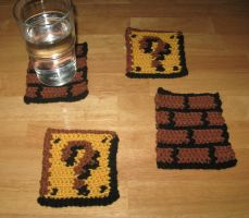 Mario Themed Coasters by Craftigurumi