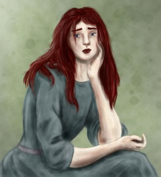 Wistful redhaired lady by GloomyGull