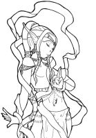 Magic Ribbon Dancer Lineart by Sweets-B