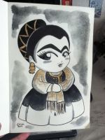 Frida Kahlo Black and Gold by ChibiCelina