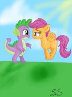 Request-Spike and Scootaloo by some-pegasister