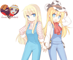 Harvest Moon Claire and HM3DS Girl Render by Hikari-Luna