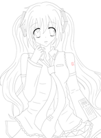Miku Lineart by candy-shell