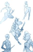 Sketch Dump (womanfolk) by ThranTantra