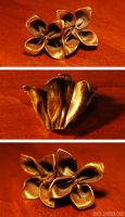 Bronze Origami Flowers by mkce