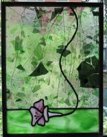 Fallen Blossum Stained Glass Panel by trilobiteglassworks