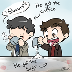 Supernatural - Sharing a cuppa by caycowa