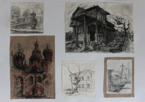 Sketches, Saratov, Bryansk, Moscow and Abakan by Zionka