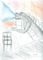Sketch-A-Day Number 1-Godzilla by docmagnus
