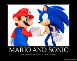 Mario and Sonic Motivational poster. by WaluigiTails3801