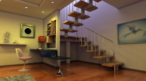 Interior with a stairway final 2 by Ultrarender