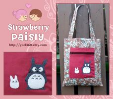 brown and blue totoro bag by yael360
