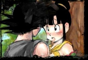 Goku and Chi-Chi_Sexy Kiss by LyraAngelOfDarkness