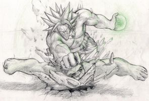 Broly vs Hulk by giammangiato
