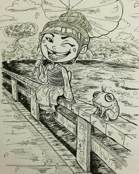 inktober day #22 - Little  geisha and frog! by qhici