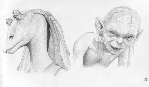 Jar Jar and Smeagol by rob-powell