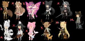 Free human-animal adoptables - CLOSED by iAsura