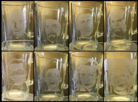 Etched Star Trek TNG Glass Set by MelloReflections