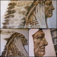Chief Charging Bear - Ink drawing by Moqie