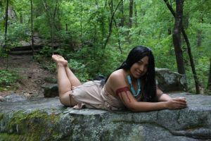 Pocohantas In The Forest  Pin Up  Radiant Smile by Kaibutsu