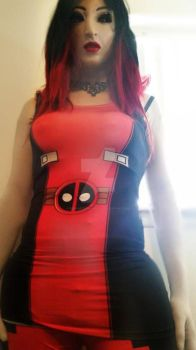 Lady deadpool dress and leggings :3 by synthetichumanity