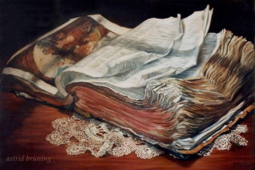 The Book of all Books- OIL PAINTING by AstridBruning