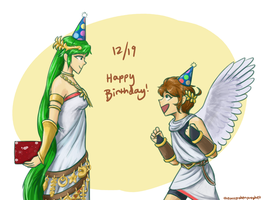 Happy 28 Pit and Palutena by theunspokenprophet