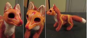 Orange Masked Fox Spirit ~ Needle Felted by tallydragon