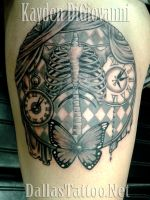 Pretty Gothic Skeleton Butterfly Tattoo by kayden7