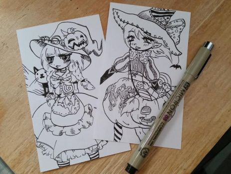 Witch Doodles on 3x5 Note Cards by CloverWing