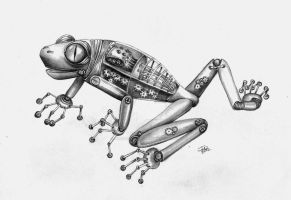 steampunked forest frog by winstonscreator