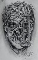 zombie and guitar done by Robert-Franke