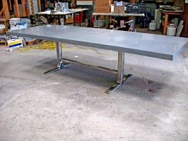 Minimalist Stainless Steel Trestle Table Base by ou8nrtist2